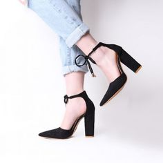 04d129cc3181 6 Colors Pointed Strappy Pumps Sexy Retro High Thick Heels Shoes 2108 New  Woman Shoes Female Lace Up Shoes