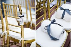 Gold Chavari chairs with navy blue reserved signs. Soft warm blankets for guests in this outdoor winter wedding.