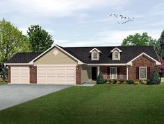 House Plan 49075   Country Plan with 1635 Sq. Ft., 3 Bedrooms, 3 Bathrooms, 3 Car Garage