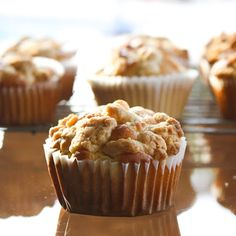 Beautiful ambrosia muffins are filled with sweet coconut, cherries, and pecans. You're going to love these incredible muffins! Muffin Recipes, Apple Recipes, Baking Recipes, Dessert Recipes, Paleo Dessert, Banana Oatmeal Muffins, Apple Muffins, Apple Oatmeal, Coffee Cake Muffins