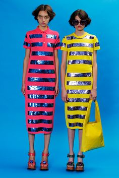 This designer was influenced from the 60s-70s era. The different patterns and colors was a trend during this time. The shiny, metallic in their dresses represents a very futuristic, space age theme. 4/5/15