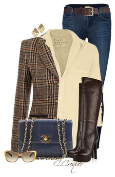 """Armani Tweed Jacket"" by ccroquer ❤ liked on Polyvore featuring J Brand, Frank & Eileen, Armani Jeans, Chanel, Gucci, Mossimo, Topshop and Barneys New York"