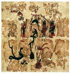 『太一将行図』 3号墓出土。長さ43.5センチ、幅45センチ。これは「太一」などの神と関係がある巫術の図である。
