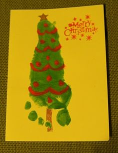 Christmas Trees foot print.  I'm such a sucker for hand and foot print crafts for school.  Messy but a great keepsake.