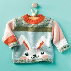 Free Knitting Pattern Rabbit Sweater. This cheerful kids' sweater is made with a sweet rabbit! This sweater is made of Phildar Trendresse, a combination yarn of polyamide and viscose.
