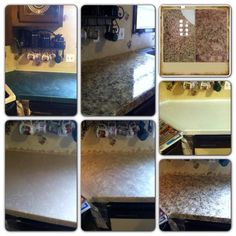 Before and after painted formica countertops