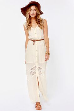 RVCA Daughter Cream Lace Maxi Dress at Lulus.com!