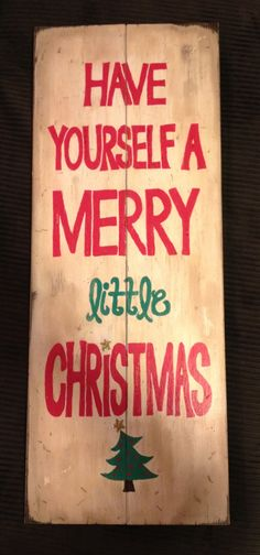 Vintage wood Christmas sign.
