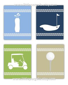 "Golf Art for Kids Golf Decor Wall Art for Nursery Set of Four 8x10"" Prints with BONUS 5th  print by Little Pergola Art, $55.00"