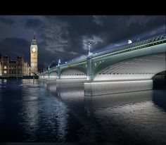 6 Shortlisted Designs Unveiled in London's Illuminated River Competition,Synchronizing the City: Its Natural and Urban Rhythms / Diller Scofidio + Renfro. Westminster Bridge. Image © Malcolm Reading Consultants and Diller Scofidio + Renfro
