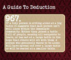 The science of deduction. This one is actually kind of sad....
