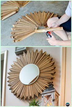 diy holz DIY Stained Wood Shim Starburst Mirror Instruction -DIY Decorative Mirror Frame Ideas and Projects Diy Para A Casa, Diy Casa, Diy Home Decor Projects, Diy Home Crafts, Decor Ideas, Wood Projects, Decorating Ideas, Yarn Crafts, Decorating Frames