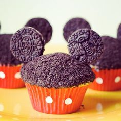"Made them for Lavinia's 3rd birthday with ""Donauwellen-Muffins"" Used melted chocolate on top, cut them up and put the Oreo's in. Very cute!"