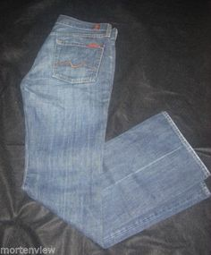 SEVEN-7-FOR-ALL-MANKIND-WOMENS-BLUE-JEANS-29-BOOT-CUT-SFAMK
