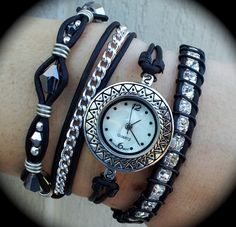 'Watch and leather wrap bracelet all in ONE!' is going up for auction at  7pm Sat, Jun 9 with a starting bid of $50.