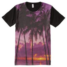 Shop Purple Tropical Sunset All-Over Print T-shirt created by FantasyApparel. 3d T Shirts, Cool T Shirts, S Shirt, Shirt Style, Going Out Shirts, Purple Sunset, Stylish Shirts, Printed Tees, Graphic Tees