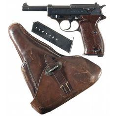 German Walther P38 semi-automatic pistol with magazine and holster.