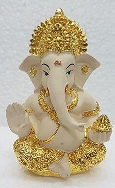 Gold Art India Gold Plated Terracotta Ganesha Idol (Off White) Jai Ganesh, Ganesh Lord, Ganesh Idol, Ganesha Art, Shree Ganesh, Shri Ganesh Images, Ganesha Pictures, Lord Krishna Images, Yoga Studio Design