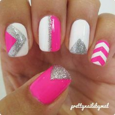 Love. Chevron pink silver and white nail art