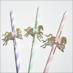 Our hand made gold glitter carousel horse straws will add sparkle to guests' baby shower and birthday party drinks. Select your favorite pastel colors and we'll top it off with a coordinating saddle b