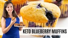 Keto Blueberry Muffins Recipe Keto Breakfast Muffins, Keto Blueberry Muffins, Blue Berry Muffins, Healthy Low Carb Recipes, Keto Recipes, Cooking Recipes, Low Carb Sweets, Muffin Recipes, Almond Flour