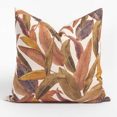 This moody botanical pillow combines deep tones and an oversized palm print that creates a sense of edgy sophistication. The vintage inspired palette of plum, terracotta and ochre is kept fresh on a soft-white background, and will be an undeniably cool new piece for your space. Large Sofa, Plant Decor, Terracotta, Pillow Inserts, Bohemian Style, Vintage Inspired, Swatch, Bed Pillows, Palm Print