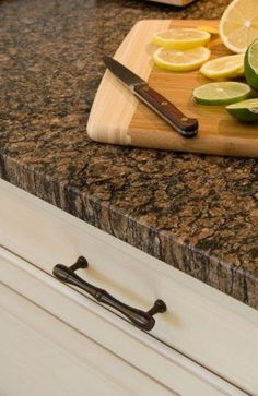 If you are looking for Granite Kitchen Countertops Ideas, You come to the right place. Below are the Granite Kitchen Countertops Ideas. White Cabinets White Countertops, Brown Granite Countertops, Dark Counters, Brown Cabinets, Black Granite, Dark Kitchen Countertops, Countertop Types, Countertop Paint, Countertop Makeover