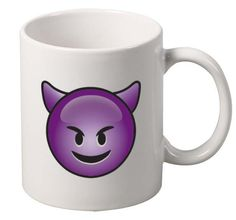 Happy Devil Emoji Emoticon Mug A Cool White Ceramic Mug! 11 oz Coffee Mug, Tea Mug. High Quality, Cool Print. DishwLight Grayer and Microwave Safe. #mug #officedecor #home #emoji
