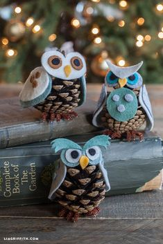 felt pinecone owl ornaments