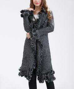 Loving this Simply Couture Black & Gray Faux Fur-Trim Wool-Blend Long Cardigan on #zulily! #zulilyfinds