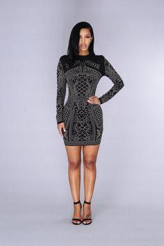 Star Studded Event Dress - Black