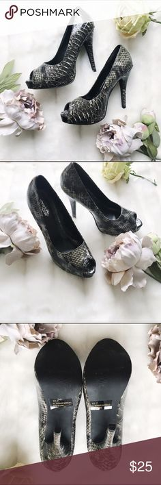 """Snakeskin print pumps Stun in these 5"""" heels with platform. Never before worn and in excellent condition.   * Fast shipping * Discounts on bundles Charlotte Russe Shoes"""