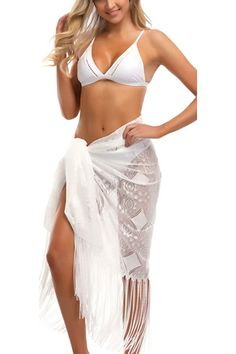 7a61749a41 Womens Beach Sarong Lace Pareo Cover Up Bikini Swimsuit Wrap With Tassels -  White - C518CMSO8X8