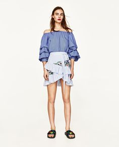 ZARA - WOMAN - STRIPED EMBROIDERED SKIRT