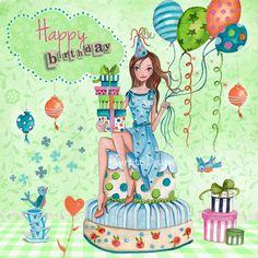 Cartita Design © 2013 - birthday - art - greeting card - illustration - girl - cake - green
