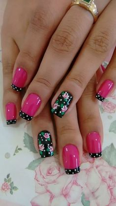 We have put together the top nail art designs. You should definitely check them out. Flower Nail Designs, Flower Nail Art, Nail Designs Spring, Cool Nail Designs, Fancy Nails, Pretty Nails, Gel Nagel Design, Fingernail Designs, Stylish Nails
