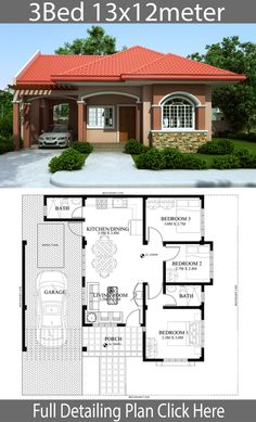 Home design plan with 3 Bedrooms - Home Design with Plansearch Home design plan with 3 Bedrooms.House description:One Car Parking and gardenGround Level: Living room, 3 Bedrooms, Dining room, Kitchen Sims House Plans, House Layout Plans, Dream House Plans, Bungalow Floor Plans, Modern Bungalow House, Three Bedroom House Plan, Family House Plans, 3 Bedroom Home Floor Plans, 3 Bedroom House