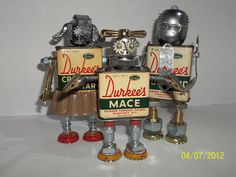 """Found object robot sculpture-"""" The Durkees"""". $75.00, via Etsy."""