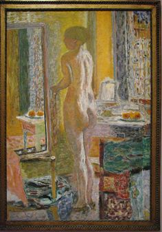 "artist-bonnard: "" Nude Before a Mirror, Pierre Bonnard Medium: oil,canvas "" Pierre Bonnard, Paul Gauguin, Henri Matisse, Oil Canvas, Art Brut, Post Impressionism, Oil Painting Reproductions, Life Drawing, Figure Painting"