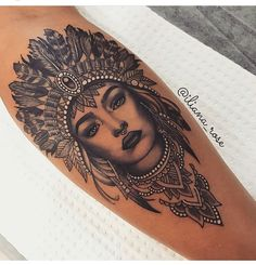 Minha Upper Leg Tattoos, Leg Tattoos Women, Mandala Tattoo Sleeve Women, Body Art Tattoos, Wrist Tattoos, Life Tattoos, Tattoo Drawings, Flower Tattoos, New Tattoos