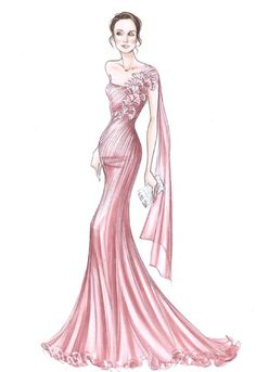 Strapless light pink with flower patterned sash on one shoulder, close to the bodey but bottom flares out