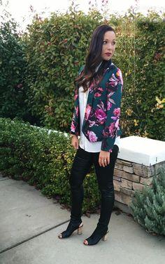 leather legging look plus floral blazer #veganleather #perfectfit www.tailoredtogether.com