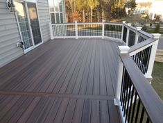 Go ahead and browse through our gallery, get inspired, pin and save the deck patio designs for small yards you like best! Our team has found some great examples of deck patio designs for small yards which we would like to share. Deck Stain Colors, Deck Colors, Grey Deck Stain, Patio Deck Designs, Patio Design, House Design, Deck Railings, Railing Ideas, Black Railing