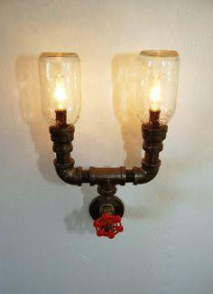 Industrial Wall Sconce, plumbing pipe repurposed industrial lighting, steampunk lamp