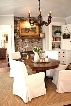 my dream - eat in kitchen with fireplace - the  ceiling is gorgeous