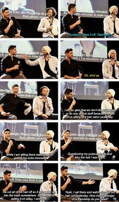 [gifset] Jensen talks about watching Jared get his hair cut in Rome :) #JibCon14 #Jensen #Jared