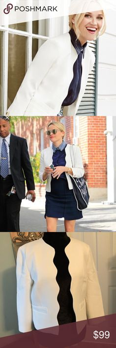 New Draper James Scalloped Blazer Hot new with tags Blazer from Draper James! This white blazer can be seen on Reese Witherspoon! Very stylish with its gold buttons a Scalloped edge. Very versatile. Originally $250! Draper James Jackets & Coats Blazers