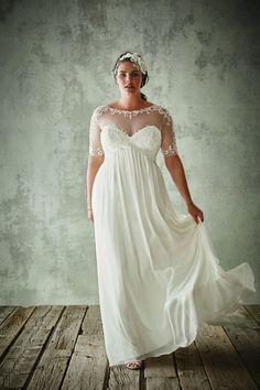 half sleeves plus size wedding gown