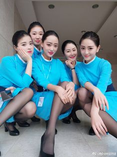 A group of Asian Female Flight Attendants in light blue dress and wearing black pantyhose In Pantyhose, Nylons, Airline Uniforms, Female Pilot, Cabin Crew, Sexy Stockings, Cosplay Outfits, Flight Attendant, Beautiful Asian Women