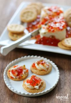 Such an easy appetizer packed with flavor! (And beautiful too!) Red Pepper Jelly | inspiredbycharm.com #IBCholiday